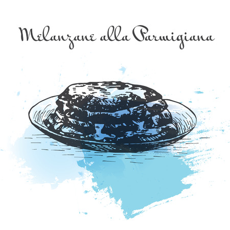 Melanzane alla Parmigiana watercolor effect illustration. Vector illustration of Italian cuisine.