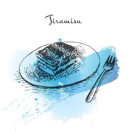 Tiramisu watercolor effect illustration. Vector illustration of Italian cuisine.