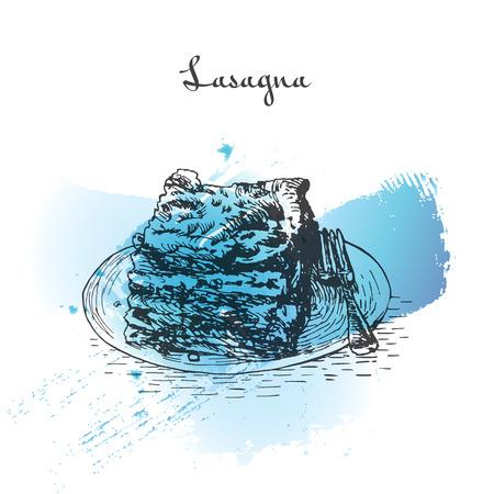 Illustrazione di effetto acquerello di Lasagna. Illustrazione vettoriale della cucina italiana.