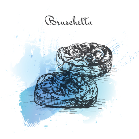 mediterranean diet: Bruschetta watercolor effect illustration. Vector illustration of Italian cuisine.