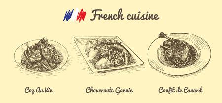 French menu monochrome illustration. Vector illustration of French cuisine. Ilustracja