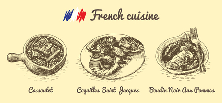 Franse menu monochrome illustratie. Vector illustratie van de Franse keuken.