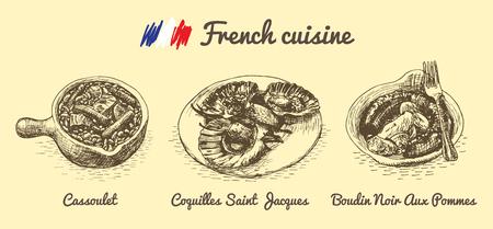 sausage pot: French menu monochrome illustration. Vector illustration of French cuisine. Illustration
