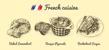 pimento: French menu monochrome illustration. Vector illustration of French cuisine. Illustration