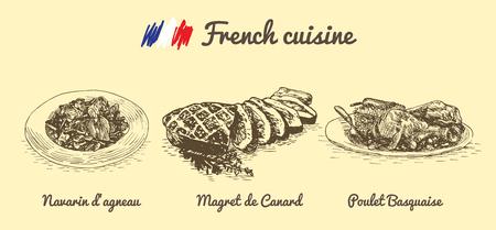 Francese illustrazione menù in bianco e nero. Illustrazione di vettore della cucina francese.