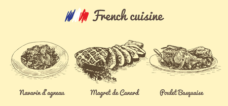french culture: French menu monochrome illustration. Vector illustration of French cuisine. Illustration