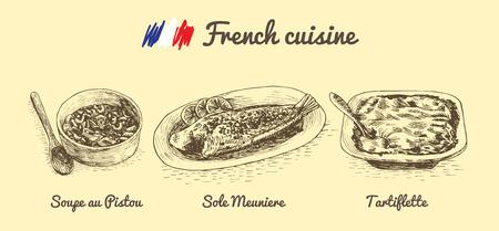 Französisch-Menü Monochrome Darstellung. Vektor-Illustration Von ...