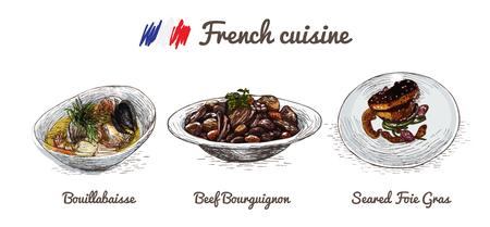 favorite soup: French menu colorful illustration. Vector illustration of French cuisine.