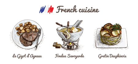French menu colorful illustration. Vector illustration of French cuisine. Vector Illustration
