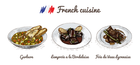 popular: French menu colorful illustration. Vector illustration of French cuisine.