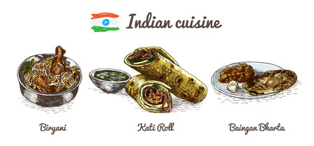 Indian menu colorful illustration.