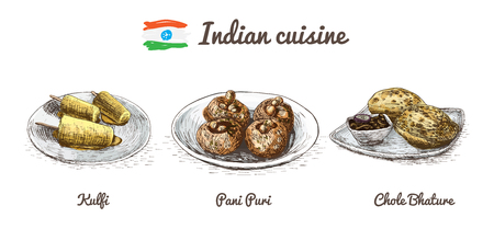 chutney: Indian menu colorful illustration. Vector illustration of Indian cuisine.