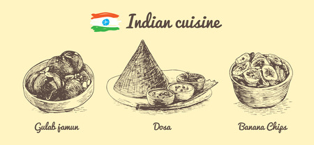 chutney: Indian menu monochrome illustration. Vector illustration of Indian cuisine.