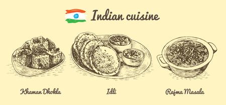 rajma: Indian menu monochrome illustration. Vector illustration of Indian cuisine.