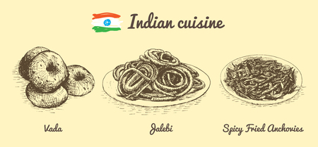 Indian menu monochrome illustration. Vector illustration of Indian cuisine. Stock Vector - 74955633
