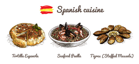 limon: Spanish menu colorful illustration. Vector illustration of Spanish cuisine. Illustration