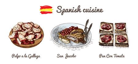Illustration en couleur de menu espagnol. Illustration vectorielle de la cuisine espagnole.