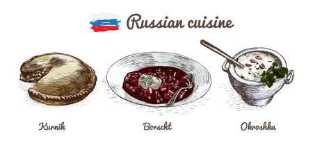 borscht: Russian menu colorful illustration. Vector illustration of Russian cuisine.