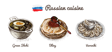 russian cuisine: Russian menu colorful illustration. Vector illustration of Russian cuisine.