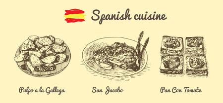 Spanish menu monochrome illustration. Vector illustration of Spanish cuisine.
