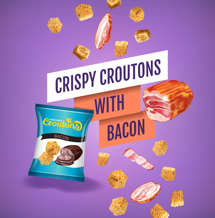 crispy: Vector realistic illustration of croutons with bacon.