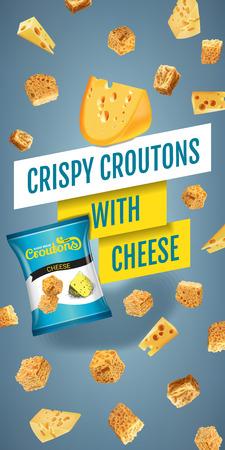 Vector realistische Darstellung der Croutons mit Käse.