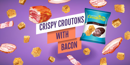 crispy: Realistic illustration of croutons with bacon. Illustration