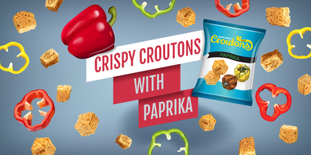 toasted: Realistic illustration of croutons with paprika.