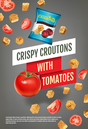 toasted: Crispy croutons ads. Vector realistic illustration of croutons with tomato. Vertical poster with product.