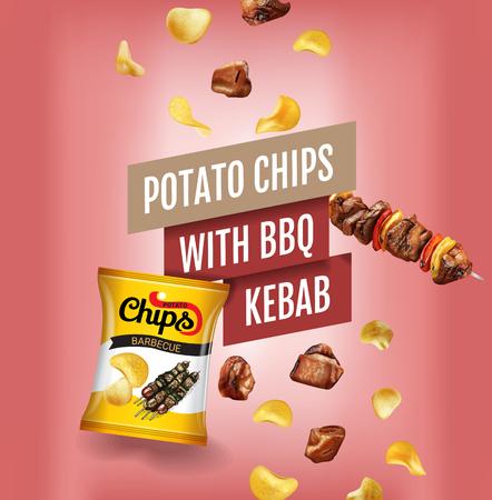 Potato chips ads. Vector realistic illustration with potato chips with BBQ kebab. Illustration