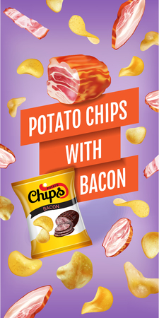 bacon strips: Potato chips ads. Vector realistic illustration with potato chips with bacon. Vertical banner with product. Illustration