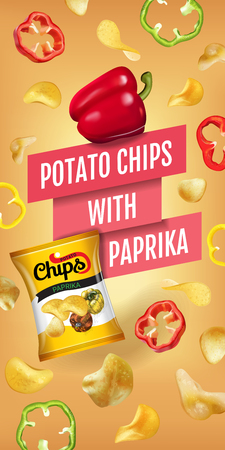 Potato chips ads. Vector realistic illustration of potato chips with paprika. Vertical banner with product. Illustration