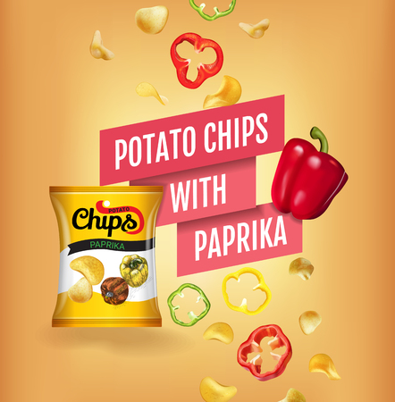 Potato chips ads. Vector realistic illustration of potato chips with paprika. Poster with product.