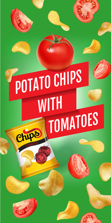 Potato chips ads. Vector realistic illustration of potato chips with tomatoes. Vertical banner with product. Illustration