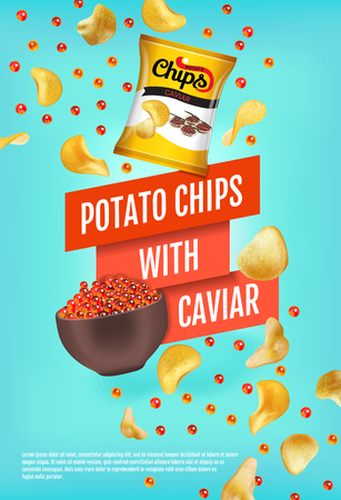Potato chips ads. Vector realistic illustration with potato chips with caviar. Vertical poster with product. Illustration