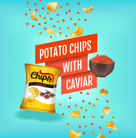 Potato chips ads. Vector realistic illustration with potato chips with caviar. Poster with product.