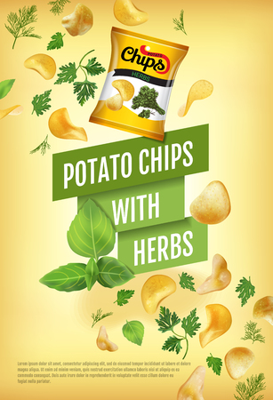 Potato chips ads. Vector realistic illustration with potato chips with herbs. Vertical poster with product.