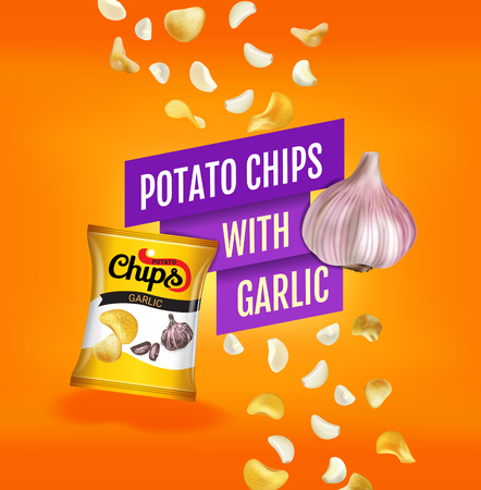 Potato chips ads. Vector realistic illustration with potato chips with garlic. Poster with product.