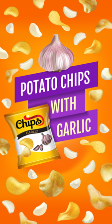 french culture: Potato chips ads. Vector realistic illustration with potato chips with garlic. Vertical banner with product. Illustration