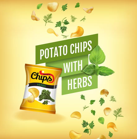 Potato chips ads. Vector realistic illustration with potato chips with herbs. Poster with product.