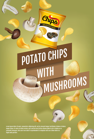 Potato chips ads. Vector realistic illustration with potato chips with mushrooms. Vertical poster with product. Illustration