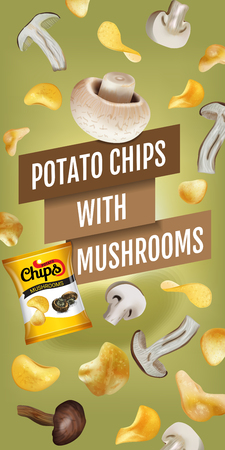 Potato chips ads. Vector realistic illustration with potato chips with mushrooms. Vertical banner with product. Stock Photo