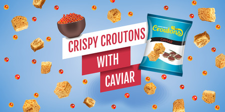 Crispy croutons ads. Vector realistic illustration of croutons with caviar. Horizontal banner with product.