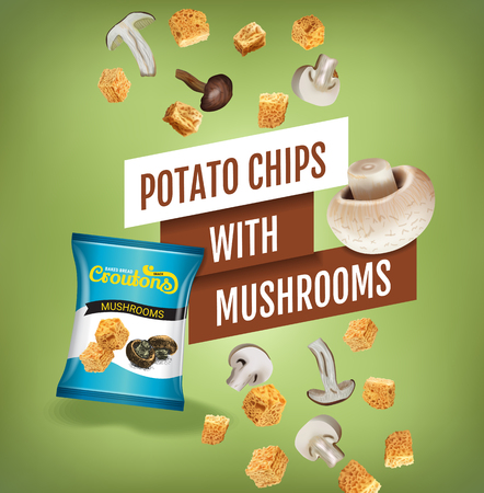 Vector realistic illustration of croutons with mushrooms. Illustration