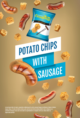 Crispy croutons ads. Vector realistic illustration of croutons with sausage. Vertical poster with product.