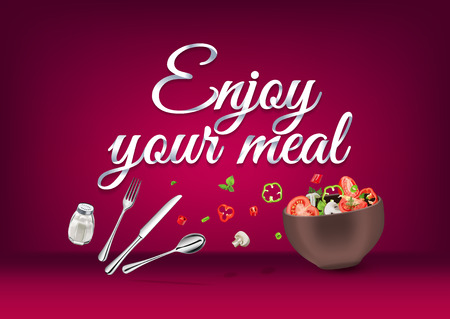 Genießen Sie Ihre Mahlzeit - Papier Hand Schriftzug Kalligraphie. Vector realistische Illustration mit Essen, trinken Objekte und Text. Vektorgrafik