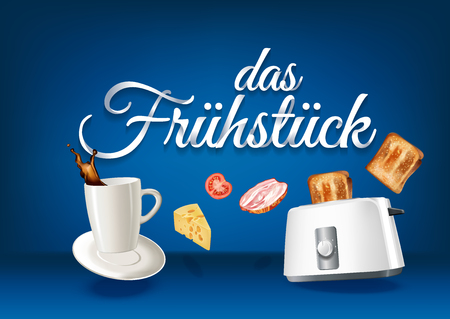 Breakfast in german language, paper hand lettering calligraphy. Vector realistic illustration with food, drink objects and text.