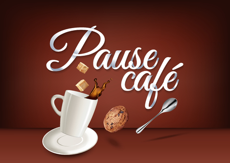 Coffee break in french language, paper hand lettering calligraphy. Vector illustration with coffee objects and text.