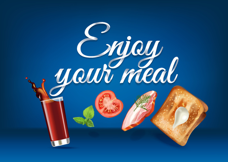Enjoy your meal - paper hand lettering calligraphy. Vector realistic illustration with food, drink objects and text.