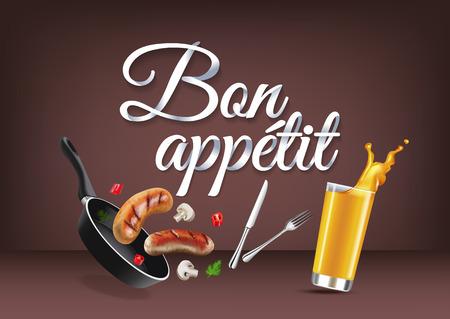 Genießen Sie Ihre Mahlzeit - in französischer Sprache, Papierhandbeschriftung Kalligraphie.
